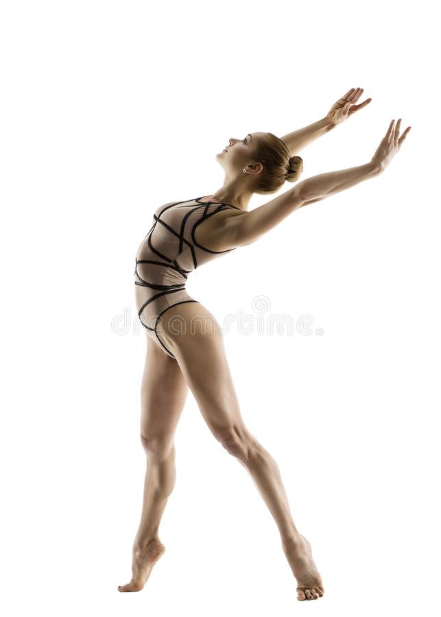 Gymnast χορευτής, αθλητικός χορός χορού γυμναστικής γυναικών, Ballerina στοκ φωτογραφία