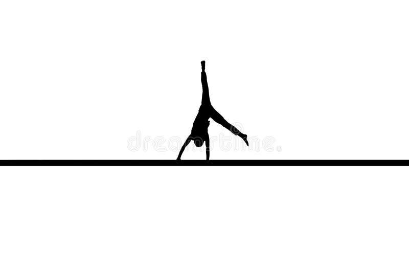 Gymnast auf Fußboden lizenzfreie abbildung