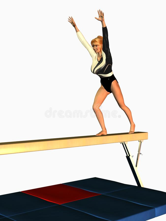 Gymnast On Balance Beam Stock Images