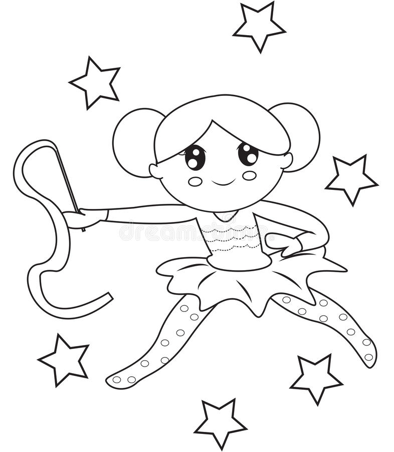 Gymnast Coloring Page Stock Illustration - Image: 50763371