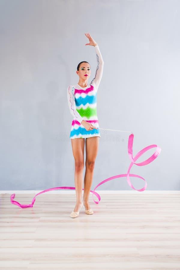 Gymnast com fita imagens de stock