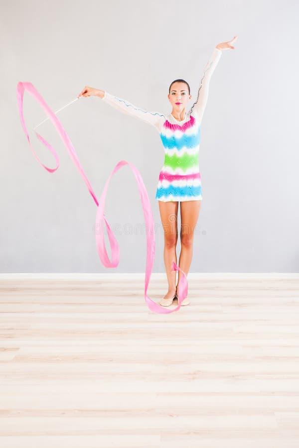 Gymnast com fita fotos de stock