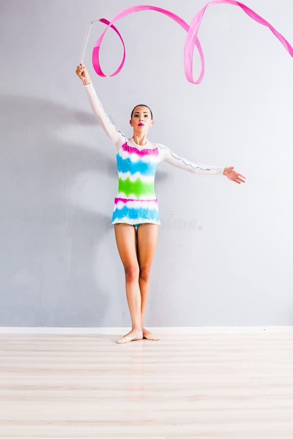 Gymnast com fita imagens de stock royalty free