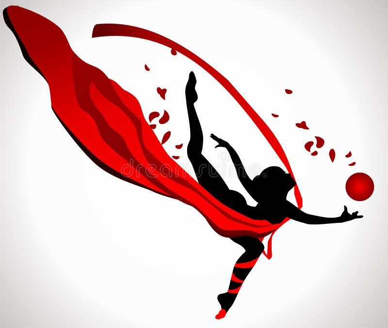 Gymnast com uma bola ilustração stock