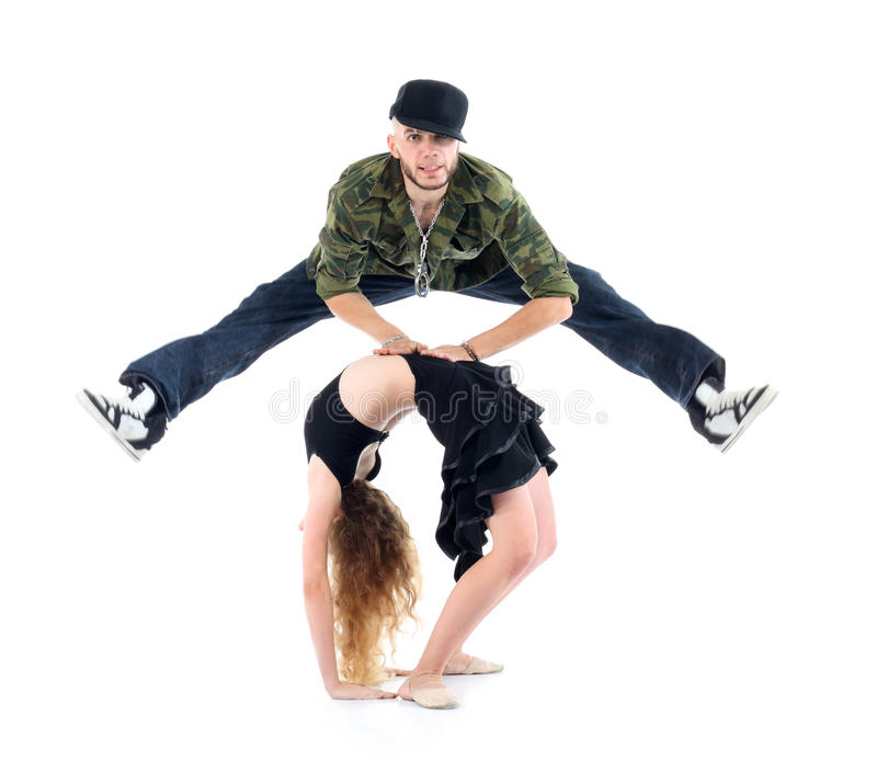 Download Gymnast Does Bridge And Rapper Jump Above Her Stock Image - Image: 28153645