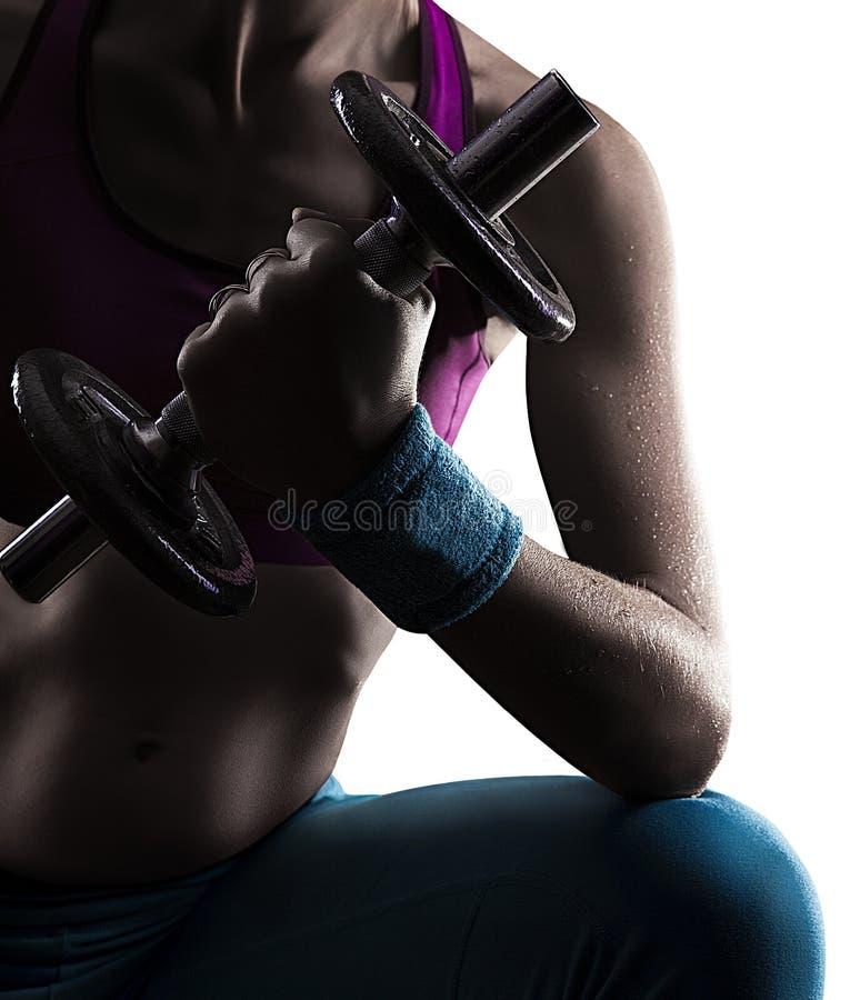 Gymnast doing weights stock photos