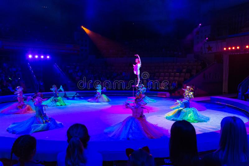 Gymnast för ung kvinna i cirkusarena royaltyfri foto