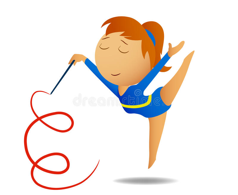 Download Gymnast girl with ribbon stock vector. Image of girls - 15967739