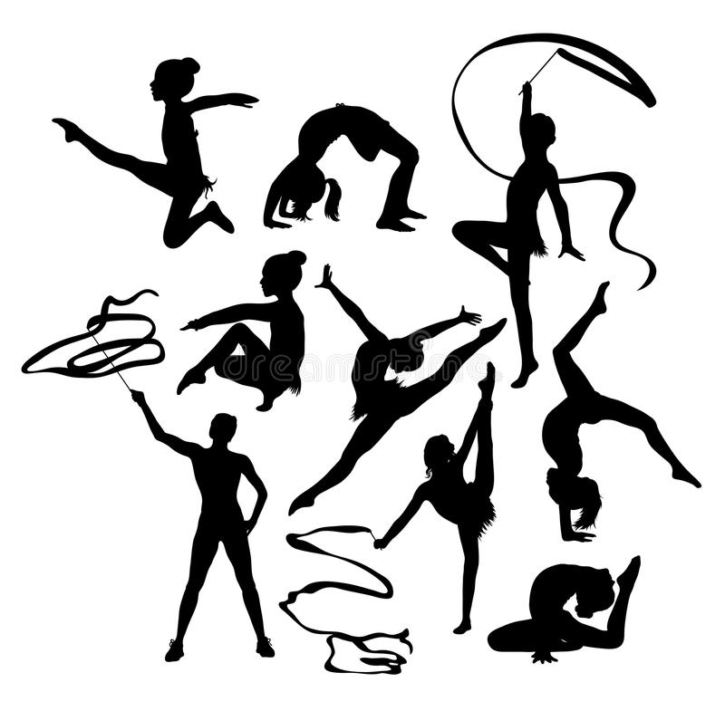Gymnast Girl with Ribbon Silhouettes stock illustration