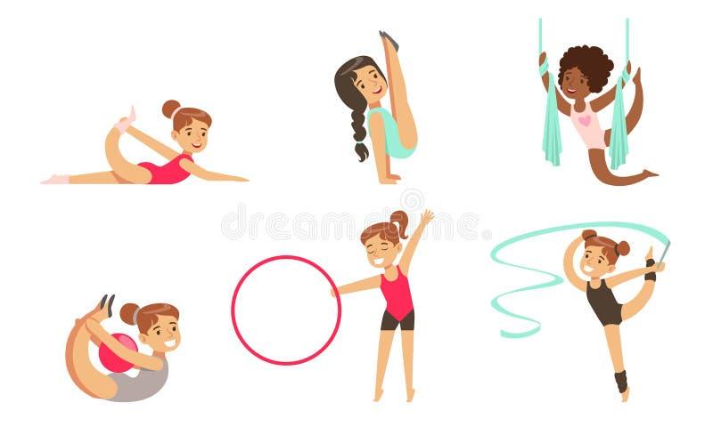 Gymnast Girls Performing Rhythmic Gymnastics Elements with Ball, Ribbon, Hoop, Aerial Silks Vector Illustration. On White Background royalty free illustration