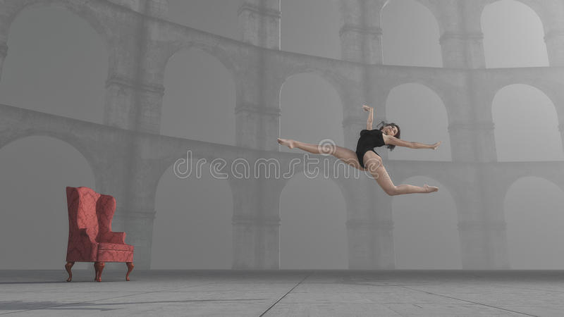 Gymnast leap. Near columns. This is a 3d render illustration royalty free illustration
