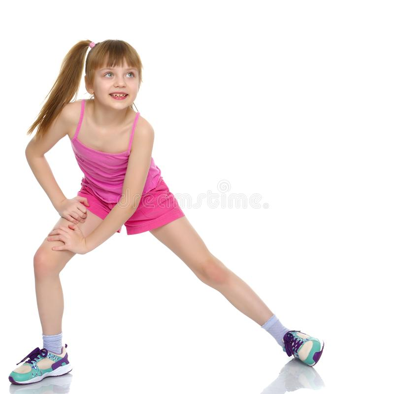 The gymnast prepares to perform the exercise. royalty free stock photo