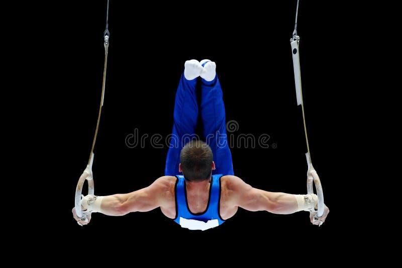 Gymnast som utför på cirklarna royaltyfria bilder