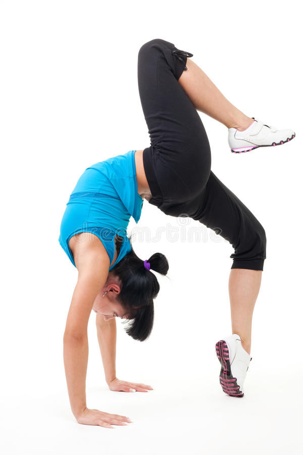Gymnast stand on hands stock images