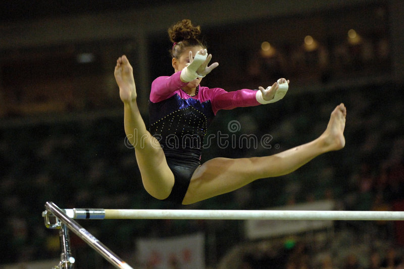 Gymnast uneven bars 002 royalty free stock photo