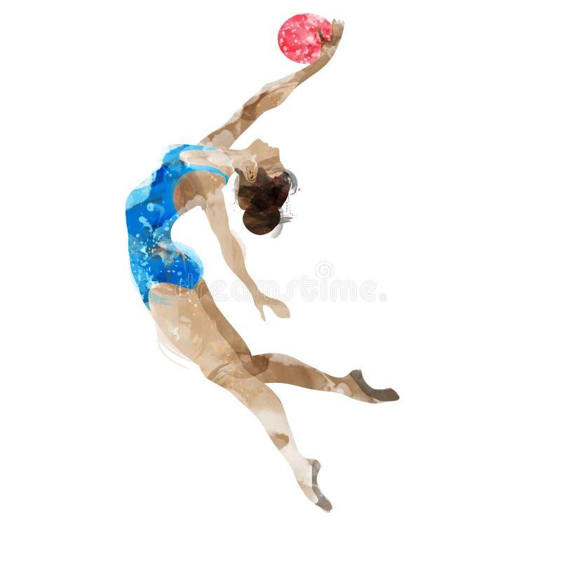 Gymnast Watercolor με μια σφαίρα ελεύθερη απεικόνιση δικαιώματος