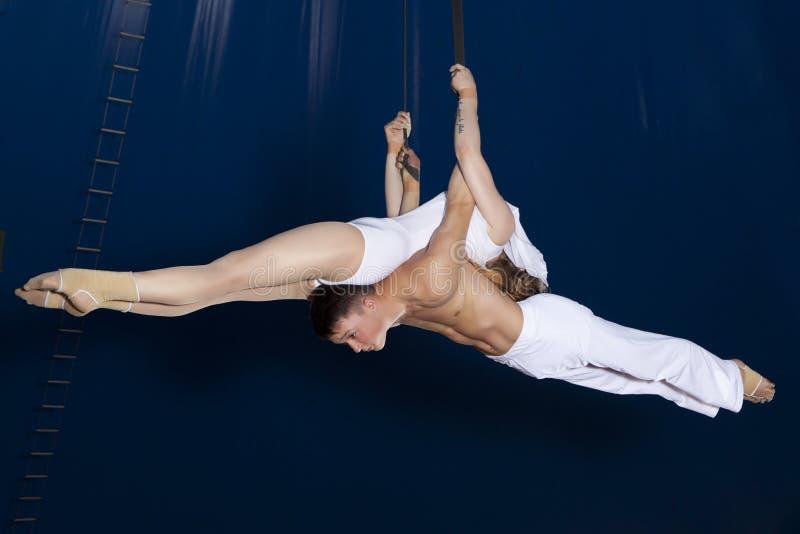 Gymnaste d'air de cirque de couples image libre de droits