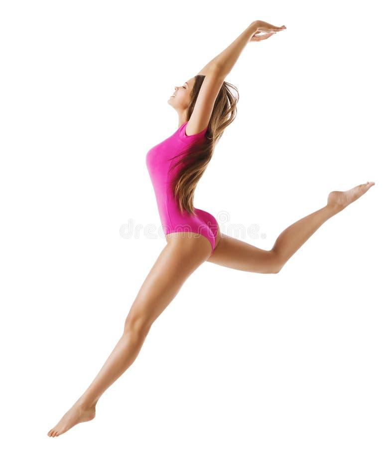 Gymnaste de sport de femme, saut de danse de jeune fille, corps sportif mince images stock