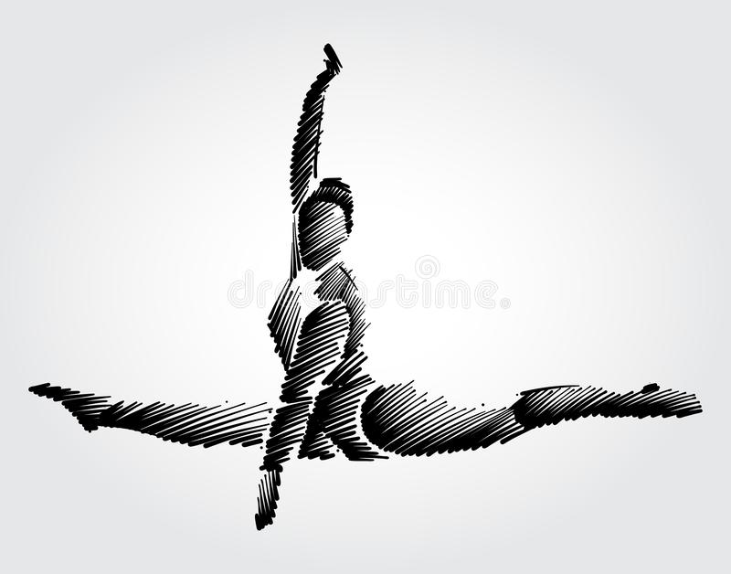 Gymnaste féminin d'athlète sautant et faisant le mouvement dans le ciel illustration stock