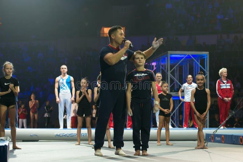 Gymnaste légendaire Aleksey Nemov aux légendes de l'exposition de l'Alexey Nemov du sport images libres de droits