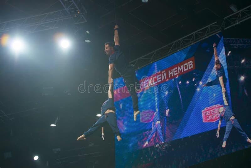 Gymnaste légendaire Aleksey Nemov en vol image libre de droits