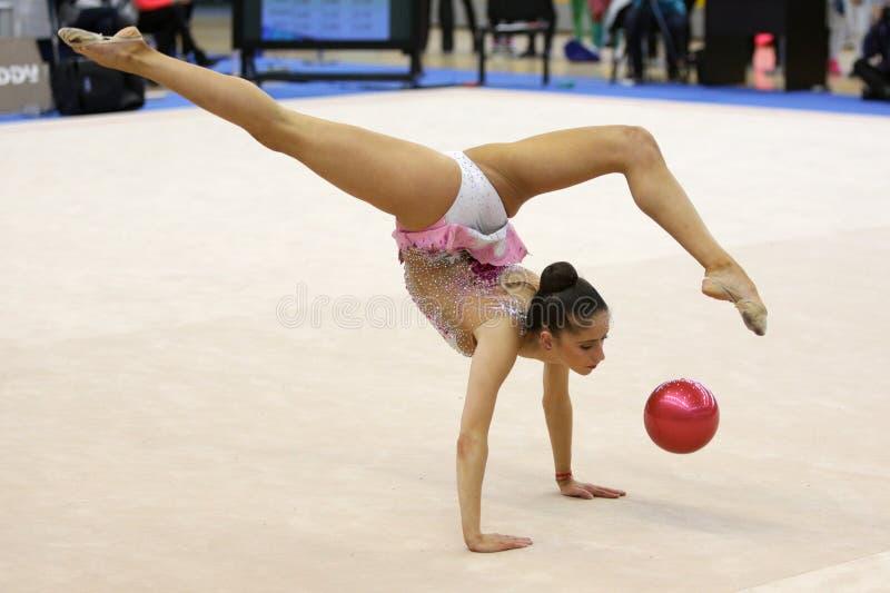 Gymnaste rythmique individuel de Neviana Vladinova photographie stock