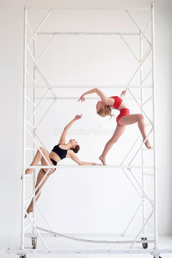 Gymnaster par av poserar I r?d och svart baddr?kt p? vit bakgrund Bel?gga med metall h?g konstruktion Plast- kropp royaltyfri fotografi