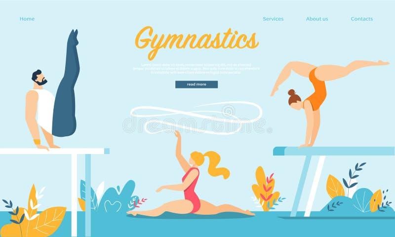 Gymnaster som ?va gymnastik p? balansbommen royaltyfri illustrationer