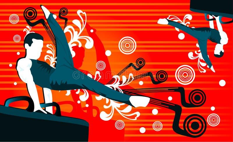 gymnastfolkvektor vektor illustrationer