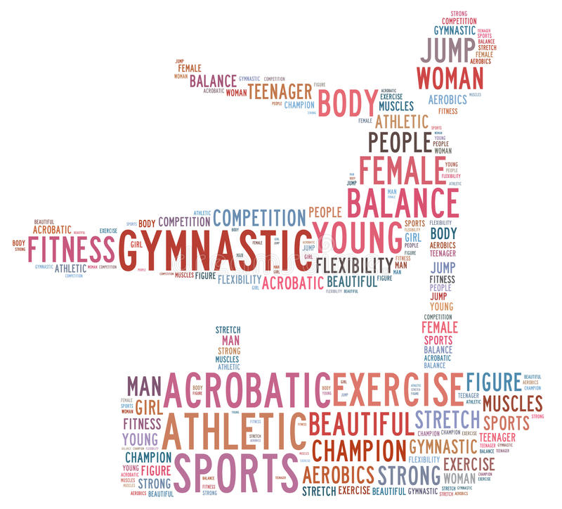 Gymnastic. Info-text graphics composed in gymnast shape concept on white background stock illustration