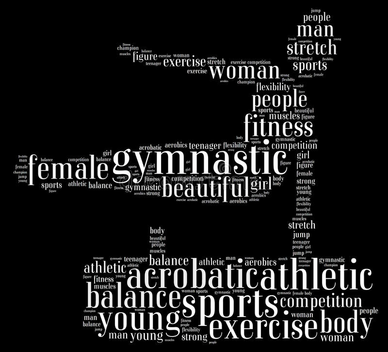 Gymnastic. Info-text graphics composed in gymnast shape concept on black background stock illustration