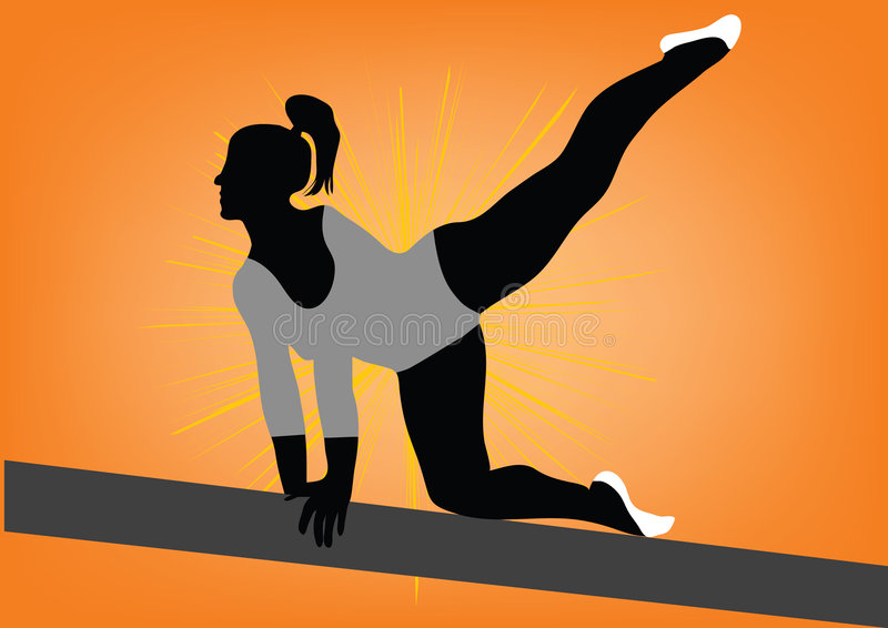 Gymnastic. S silhouette on orange color background royalty free illustration