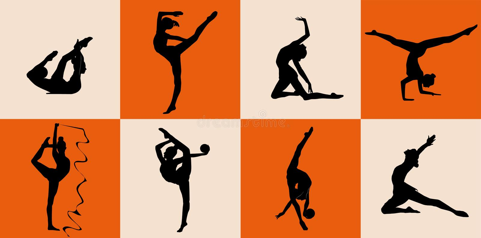 Gymnastic. Vector illustration with different gymnastic silhouettes isolated on color background royalty free illustration