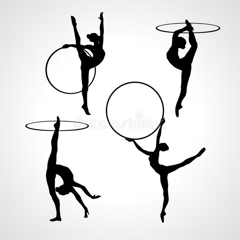 Gymnastic girls with hoops silhouettes collection. Art gymnastics vector set. Collection 4 Creative silhouettes of gymnastic girls with hoop. Art gymnastics set vector illustration
