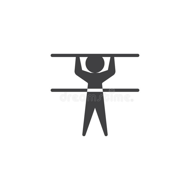 Gymnastic horizontal bar athlete vector icon. Filled flat sign for mobile concept and web design. Horizontal bar and man glyph icon. Summer sport symbol, logo royalty free illustration