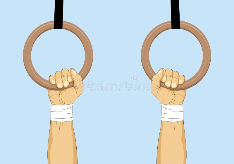 gymnastic Mãos em anéis da ginástica ilustração stock
