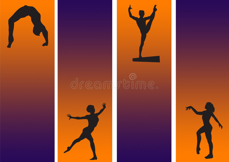 Gymnastic new. Athletic / gymnastic in drama back ground in orange stock illustration