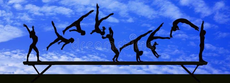 Gymnastic silhouette stock photos