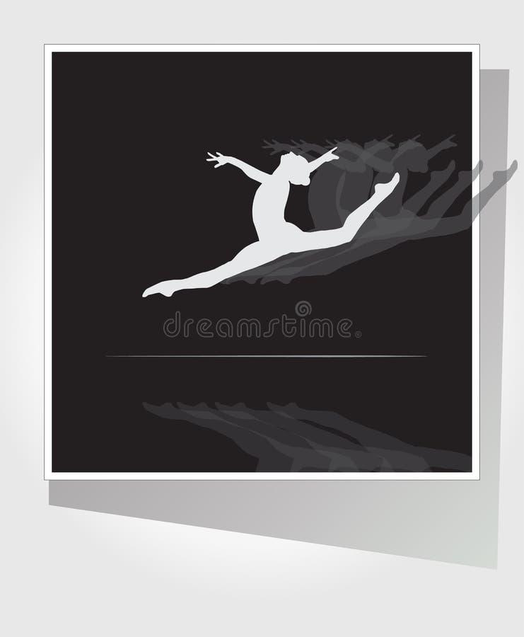 Gymnastic woman Balance beam leap jump dance royalty free illustration