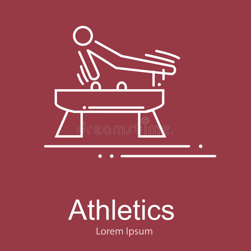 Gymnastics athlete at Pommel Horse doing exercise, sport competition vector illustration vector illustration