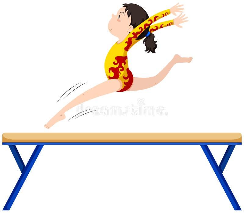 Gymnastics on balance beam royalty free illustration