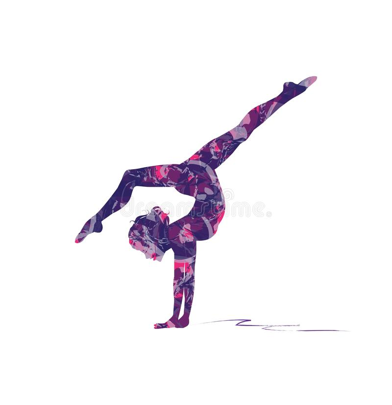 Gymnastics on the beam stock illustration