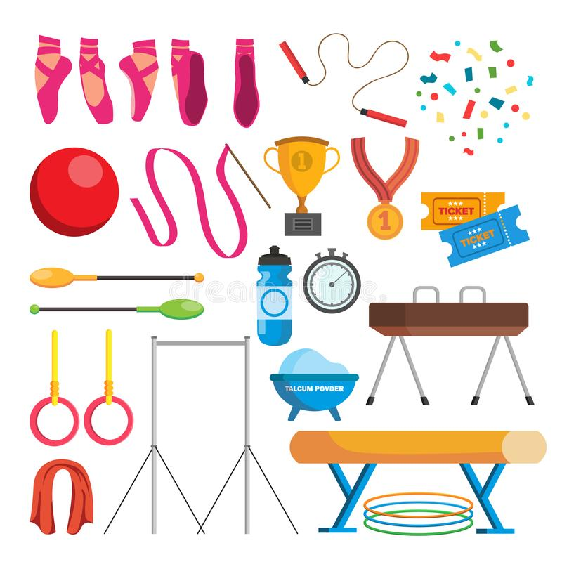 Gymnastics Icons Set Vector. Gymnastic Accessories. Ball, Rings, Mace, Hoop, Tape. Isolated Flat Cartoon Illustration. Gymnastics Icons Set Vector. Gymnastic royalty free illustration