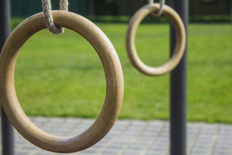 Gymnastics rings 2 (workout park) stock images