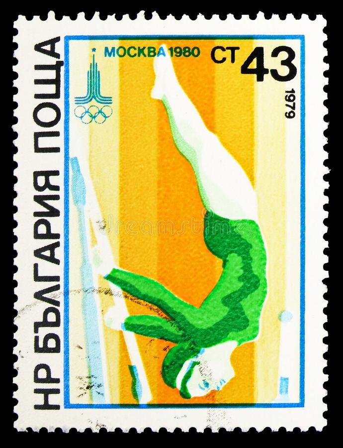 Gymnastics uneven bars (female), Summer Olympics 1980, Moscow: Gymnastics serie, circa 1979. MOSCOW, RUSSIA - SEPTEMBER 26, 2018: A stamp printed in Bulgaria stock photos