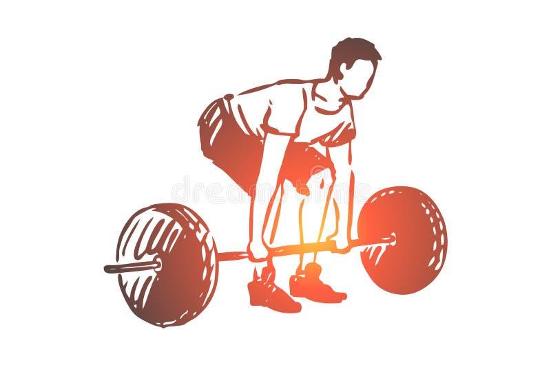 Gymnastiek, barbell, geschiktheid, mens, trainingconcept Hand getrokken ge?soleerde vector vector illustratie