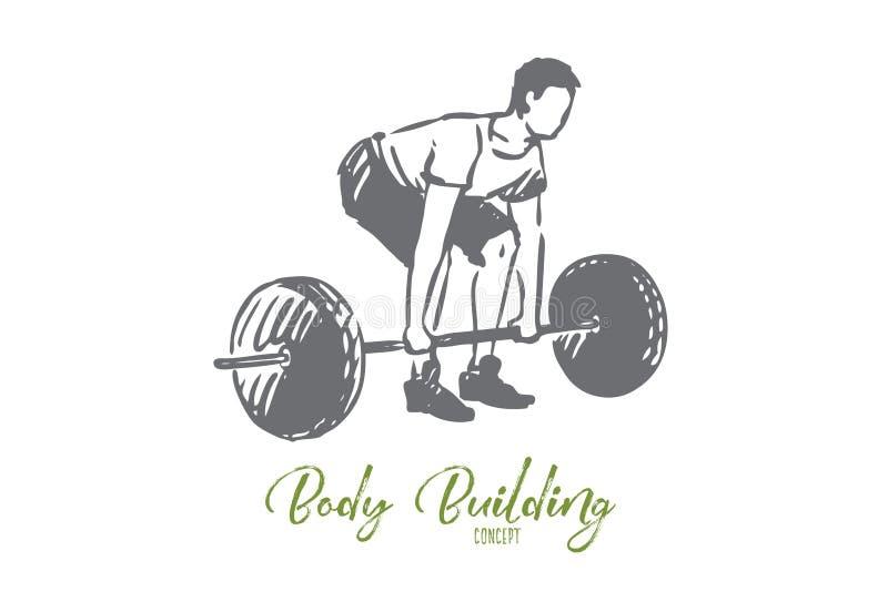 Gymnastiek, barbell, geschiktheid, mens, trainingconcept Hand getrokken ge?soleerde vector royalty-vrije illustratie
