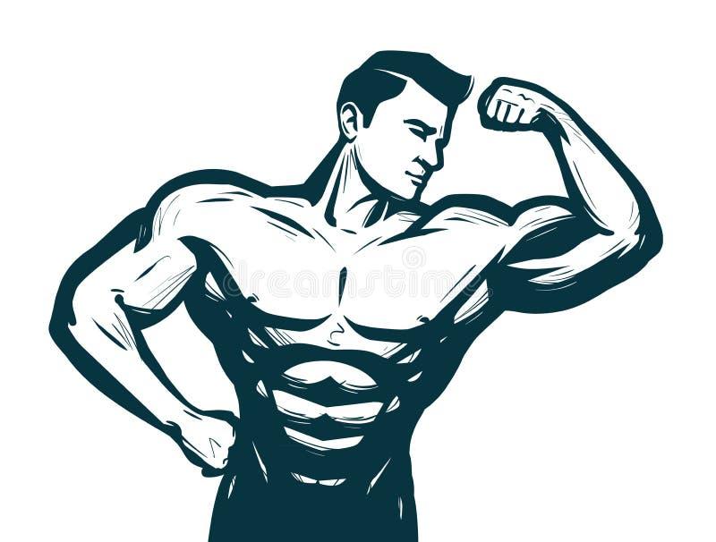Gymnastiek, bodybuilding sportconcept Mannelijk atletisch lichaam Schets vectorillustratie royalty-vrije illustratie