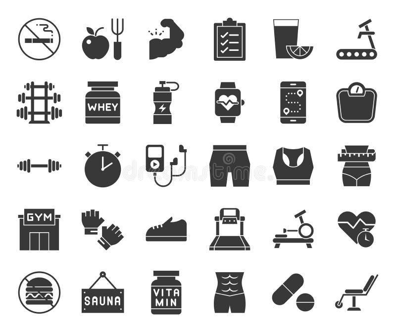 Gymnastiek, dieet en geschiktheids stevig pictogram stock illustratie