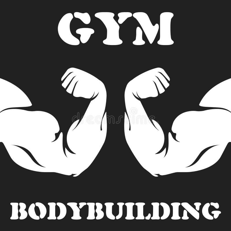 Gymnastiek en bodybuilding embleem met bicepsen vector illustratie